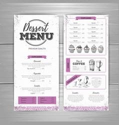 Vintage dessert menu design vector image