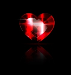 Solid red heart-crystal vector