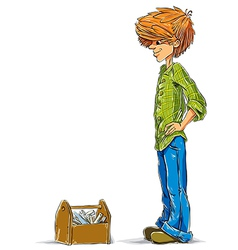 Teen boy cartoon with toolbox vector