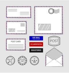 Airmail envelopes postcard and badges set vector