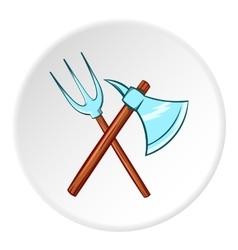 Axe and pitchfork icon cartoon style vector