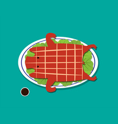 Barbecued suckling pig in flat style vector