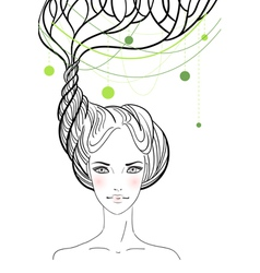 Beautiful girl with tree in her hair vector image vector image