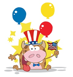Calf Cartoon Character Waving An American Flag vector image