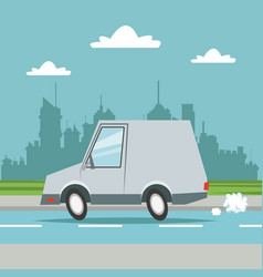 car van transport city background vector image vector image