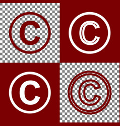 Copyright sign bordo and vector