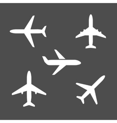 Five different airplane silhouette icons vector image vector image