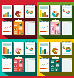 Flat design paperwork background with graphs and vector