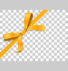 gold yellow bow knot and ribbon isolated on white vector image vector image