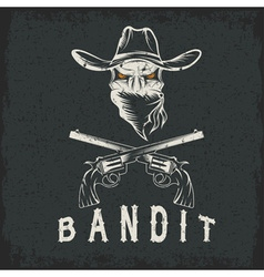 Grunge bandit skull with revolvers vector