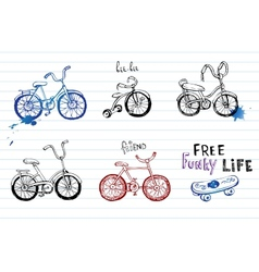 Hand drawn bicycles vector