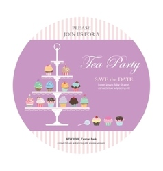 Invitation card with cupcakes stand vector