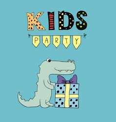 kids party lettering party with garlands and vector image