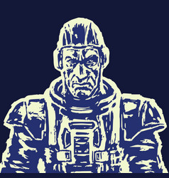old spaceman in a space suit without a helmet vector image vector image