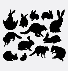 Rabbit activity animal silhouette vector