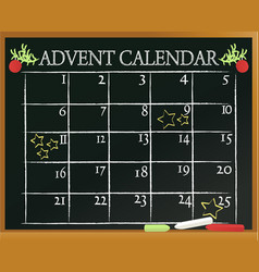 School blackboard with advent calendar vector