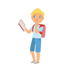 Schoolboy with backpack standing reading a book vector