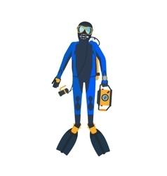 Scuba diver flat style vector