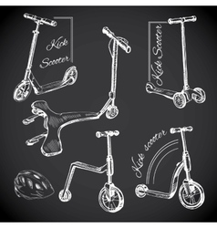 set hand drawn labels with Kick scooters Chalk vector image vector image