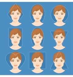 Set of different woman face shapes 4 vector