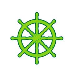 ship wheel sign lemon scribble icon on vector image vector image