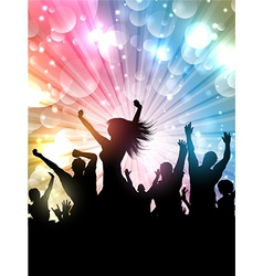 Silhouette of a party crowd on a starburst vector image vector image