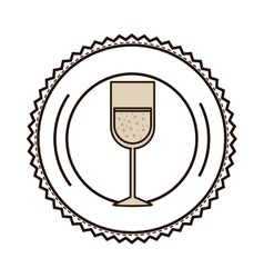 Silhouette with glass of champagne sour on dish vector