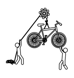 Silhouette workers with pulley holding bicycle vector