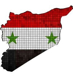 Syria map with flag inside vector