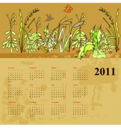 vintage calendar for 2011 vector image