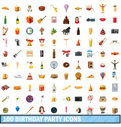100 birthday party icons set cartoon style vector