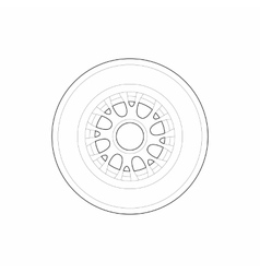 Racing wheel icon outline style vector
