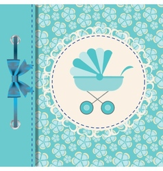 Blue baby carriage for newborn boy vector