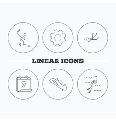 Ice hockey diving and kayaking icons vector