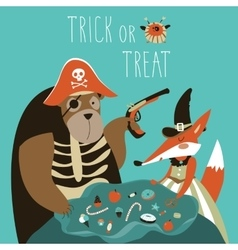 Animals in halloween costume vector