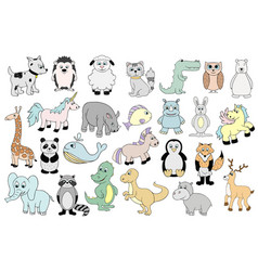 Set with baby animals  cartoon vector