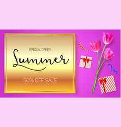 Summer sale advertisement poster on a gold vector