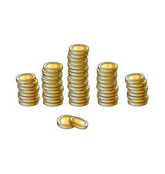 Set of shiny gold coins in tall and short stakcs vector