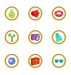 Beach resort icons set cartoon style vector