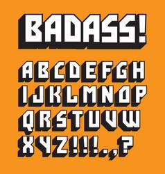 Badass custom retro alphabet vector