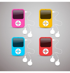 Colorful mp3 players set with white headphon vector