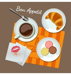 Coffee and snacks set top view vector