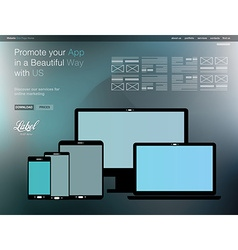 One page clear modern website template for an app vector