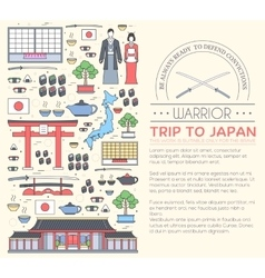 Country japan travel vacation guide of goods vector