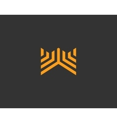 Line letter w logotype abstract moving airy logo vector