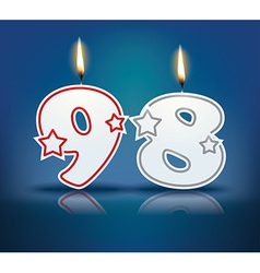 Birthday candle number 98 vector image