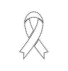 Black awareness ribbon sign black dashed vector
