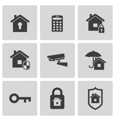 Black home security icons set vector