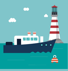 boat lighthouse sea design vector image