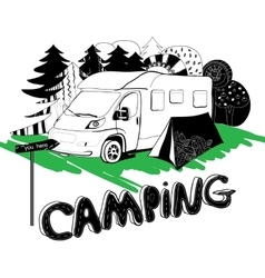 camping in a forest Motorhouse and tent on the vector image vector image